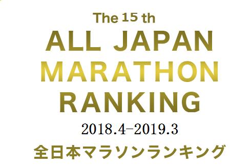 全日本マラソンランキング(2018年4月~2019年3月)が発表されたよ