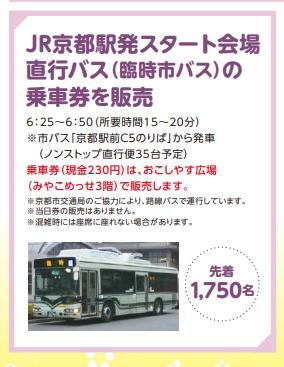京都マラソン2020 京都駅からの直行臨時バスの所要時間